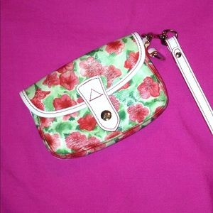 Adorable Flowered leather wristlet